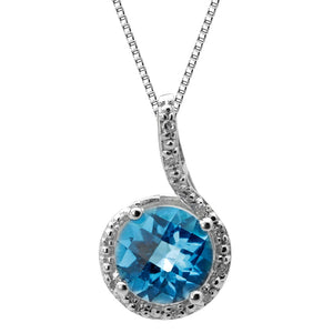 Round Birthstone Pendant with Diamond Accent in Sterling Silver