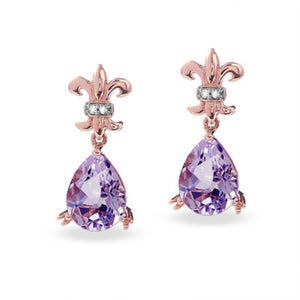 Pear Shape Amethyst Earrings with Diamond Accent in 10K Rose Gold