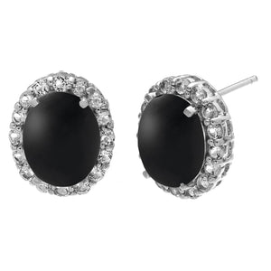 Black Onyx and White Topaz in Sterling Silver