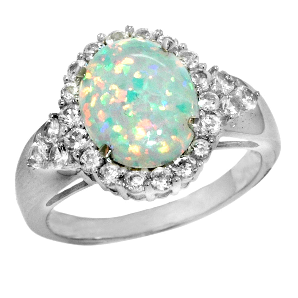 Round Gemstone & Created White Sapphire Ring with Diamond Accent