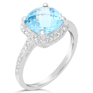 Cushion Shape Gemstone Ring with Diamond Accent in Silver