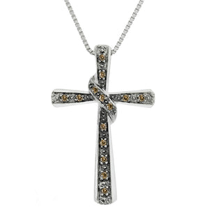 Brown and White Diamond Accent Cross Pendant in Sterling Silver