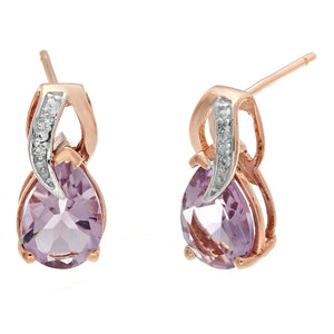 Pink Amethyst Pear Shape Earrings with Diamond Accent in 10K Rose Gold