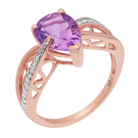 Image of 10K Rose Gold Pink Amethyst Ring with Diamond Accent