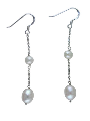 White Pearl Earrings on Fish Hook in Sterling Silver