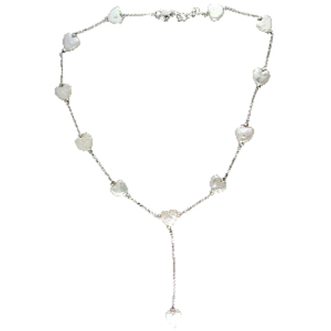 Sterling Silver and Shell Coin Pearl Necklace