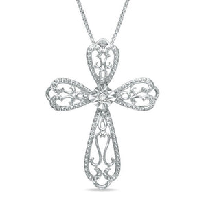 Diamond Accent Cross Pendant in Silver