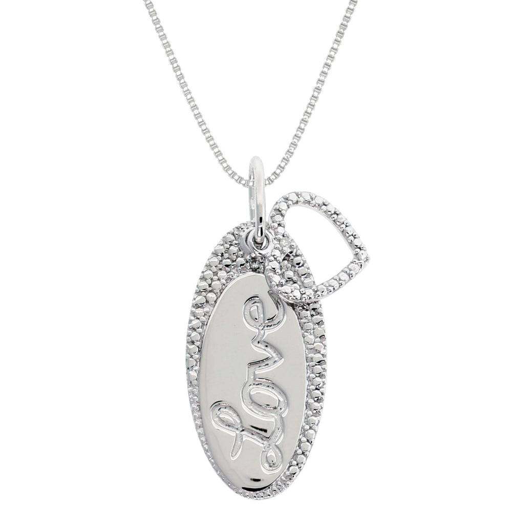 "Silver Oval ""love"" Pendant with Diamond Accent"