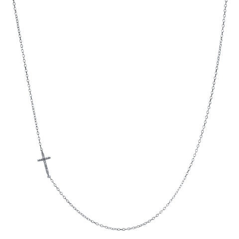 Silver Sideways Cross Necklace with .04 cttw Diamond Accent