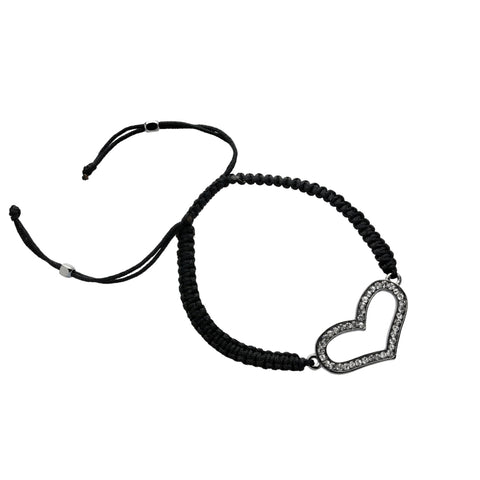 Basic Metal Bracelet with Crystal & Black Cord-Black Plating