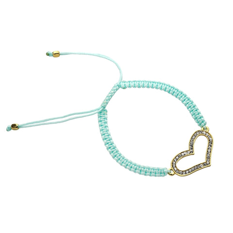 BASIC METAL BRACE WITH CRYSTAL & GREEN CORD-GOLD PLATED