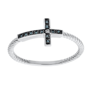 Sideways Cross Ring with Diamond Accent