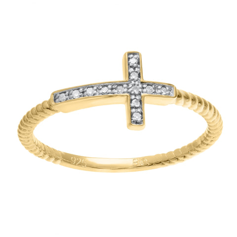 Image of Sideways Cross Ring with Diamond Accent