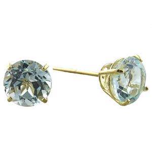 Round-shaped Gemstone Stud Earrings in 14K Gold