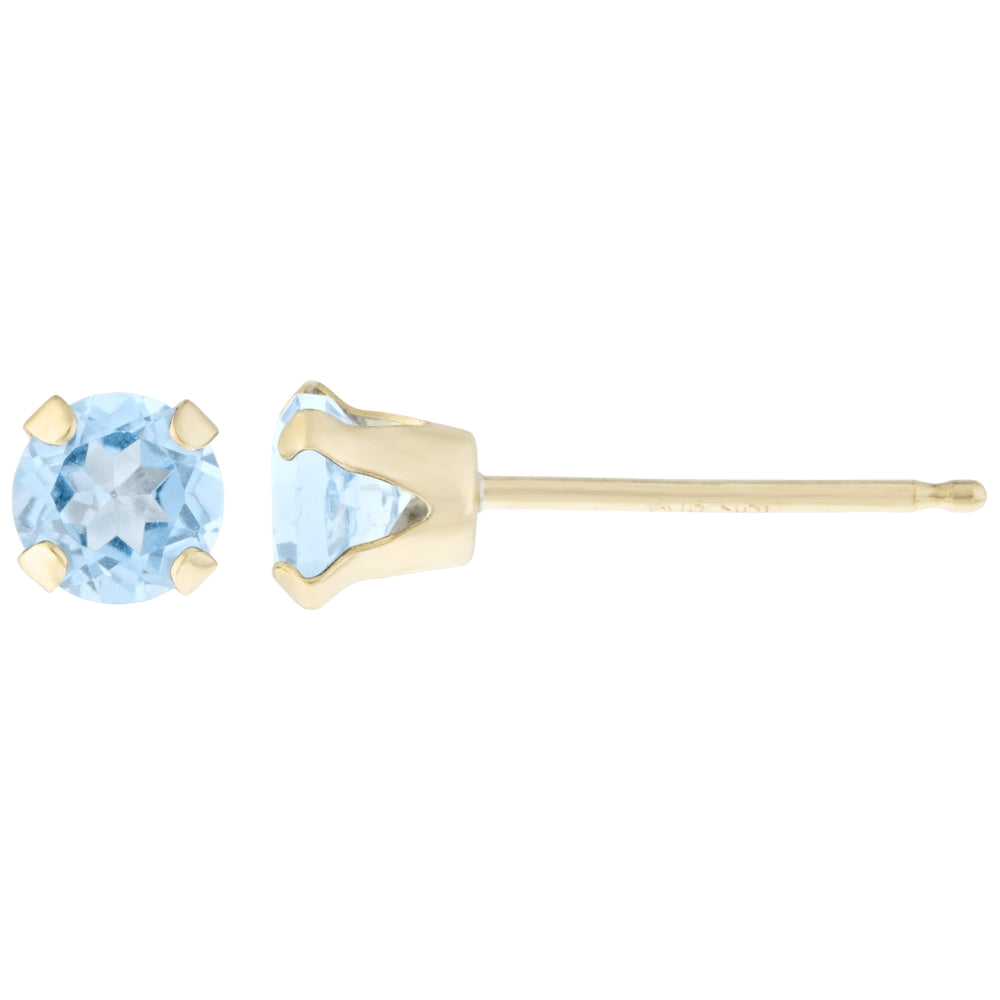 14K Gold 5mm Round-shaped Birthstone Stud Earrings