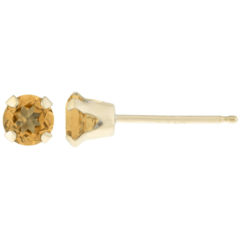 Round-shaped Birthstone Stud Earrings in 14K
