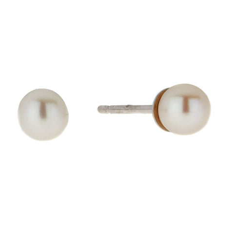 Image of Round-shaped Gemstone Stud Earrings in 14K White Gold