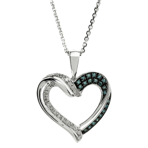 Image of Hammered Shape Pendant with Colored and White Diamond Accent in Sterling Silver