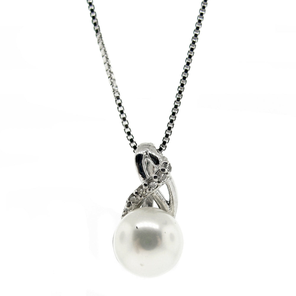 Pearl Pendant with 0.02 cttw Diamond Accent in White Gold