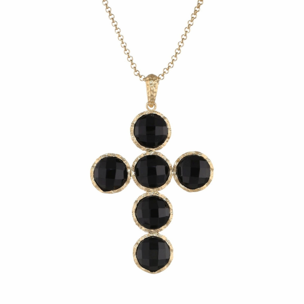 Brass Pendant with Black Glass & Gold Plating