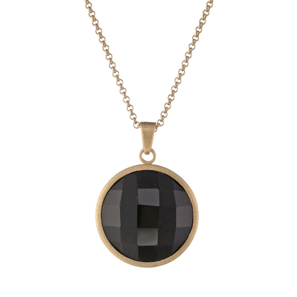 Brass Round Pendant with Black Glass & Gold Plating