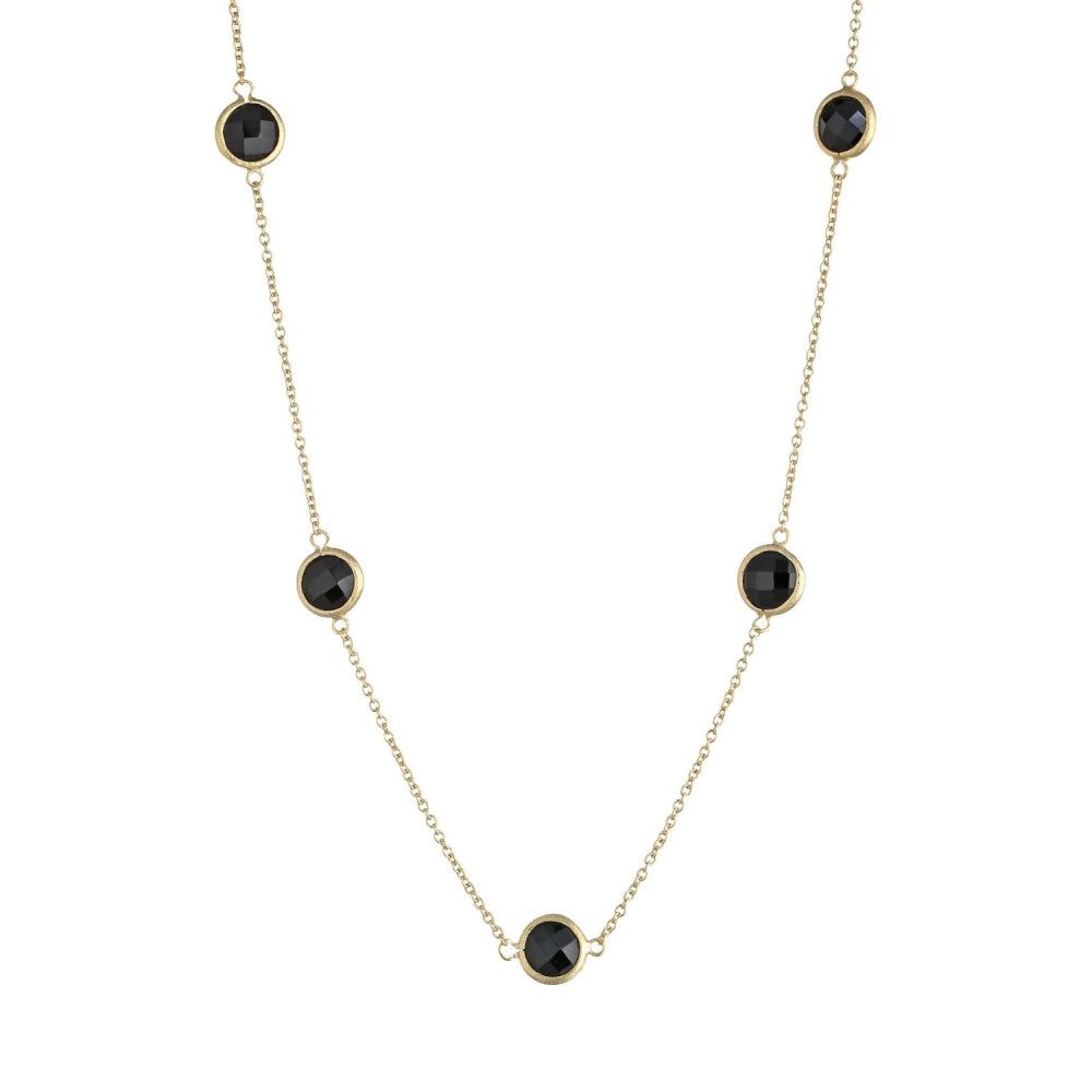 Brass Necklace with Black Glass & Gold Plating