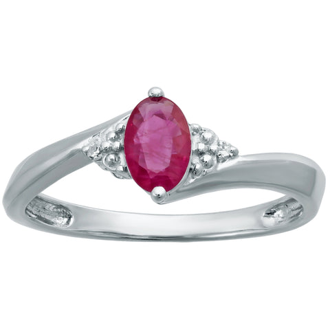Oval Shape Gemstone with Diamond Accent Ring in Sterling Silver
