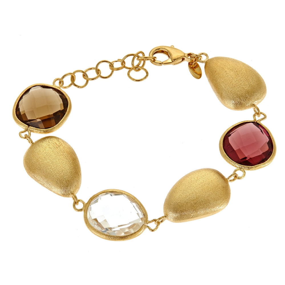 Brass Bracelet with Multi-Glass & Gold Plating