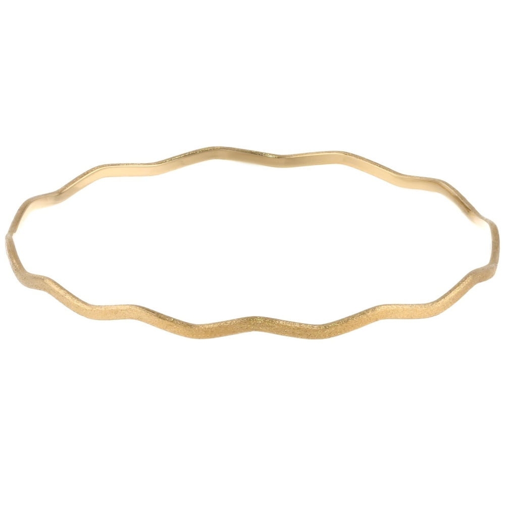 Wavy Brass Bangle with Gold Plating