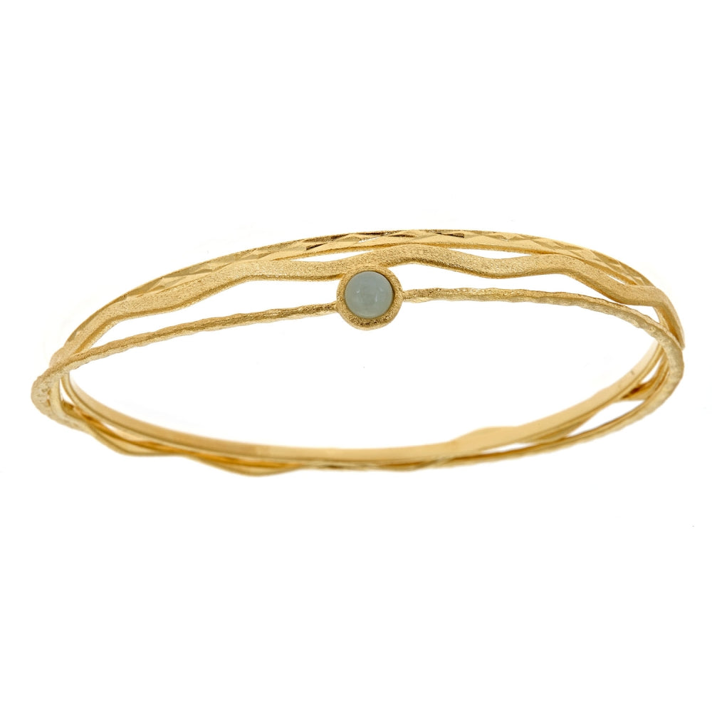 Brass Bangle with Glass in Gold Plating