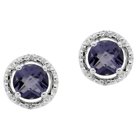 Round Shape Gemstone Earrings with Diamond Accent in 10K White Gold