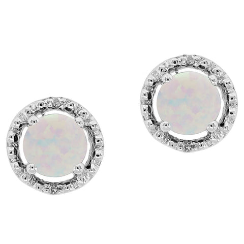 Image of Round Shape Gemstone Earrings with Diamond Accent in 10K White Gold