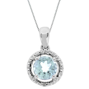 Gemstone Round Shape Pedant with Diamond Accent in 10K White Gold