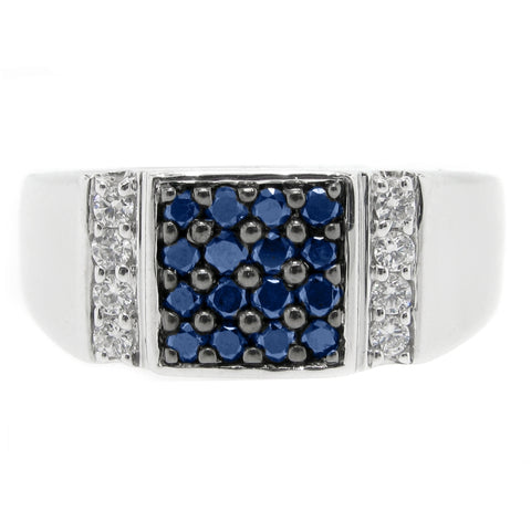 Image of Colored Diamond Accent Ring in Sterling Silver
