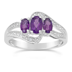 3 Stone Oval Shape Gemstone with Diamond Accent Ring in Silver