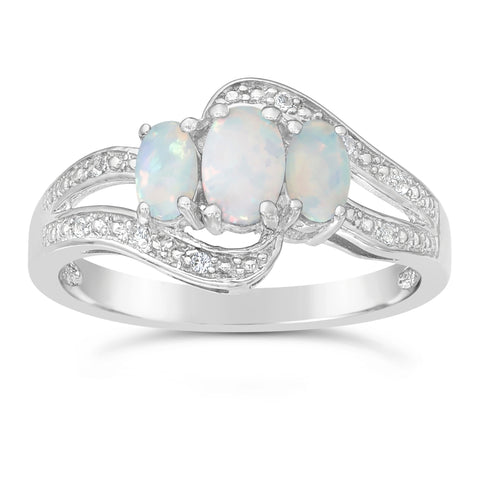 Image of 3 Stone Oval Shape Gemstone with Diamond Accent Ring in Silver