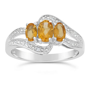 Oval Shape Birthstone Ring with White Topaz Accent in Sterling Silver