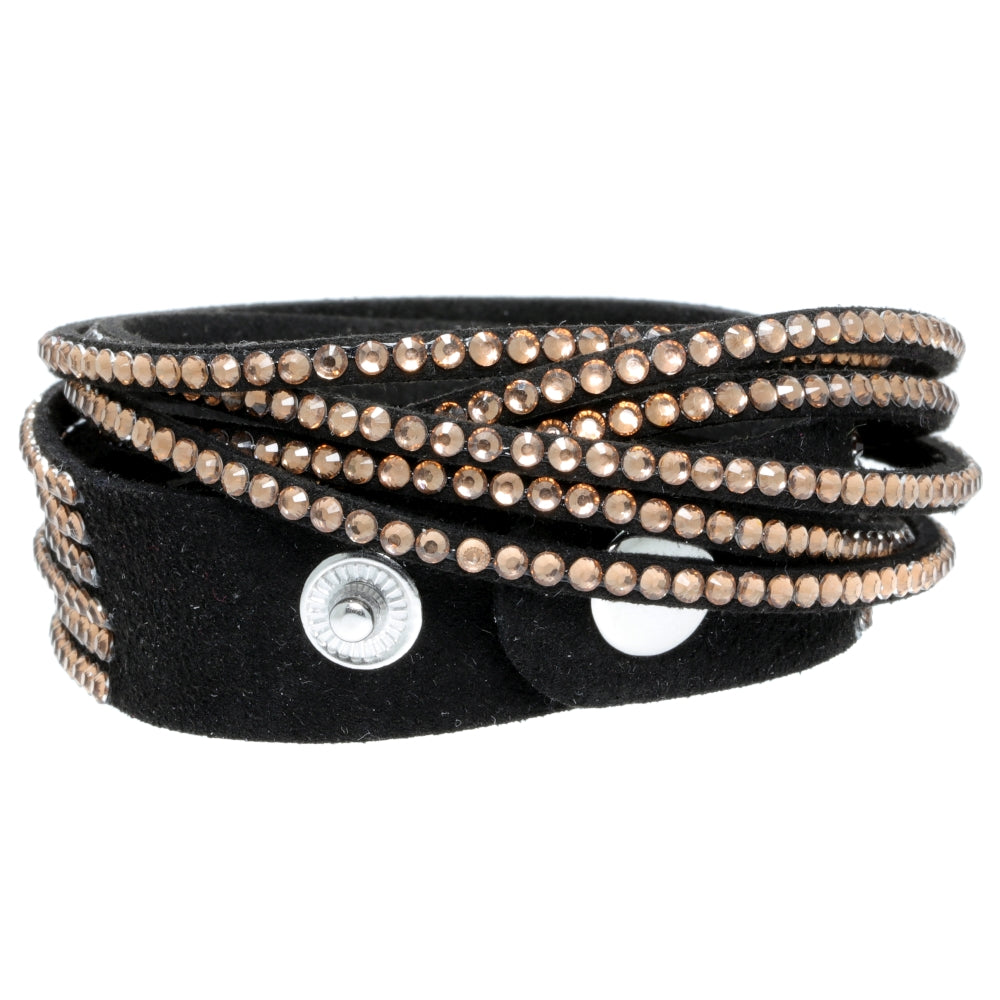 Wrap Bracelet with Crystal Glass & Faux Suede