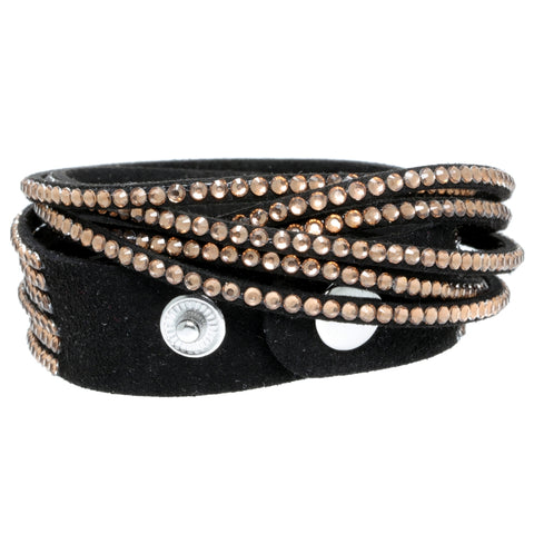 Image of Wrap Bracelet with Crystal Glass & Faux Suede