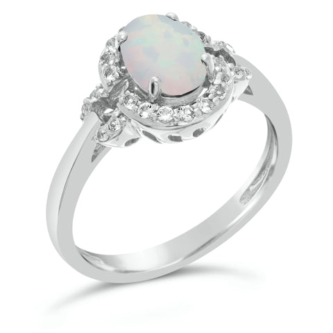 Oval Gemstone & White Topaz Ring in Sterling Silver