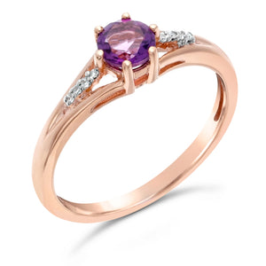 Round Shape Gemstone Ring with Diamond Accent in 10K Rose Gold