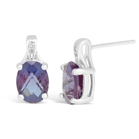 Sterling Silver Gemstone Round Earrings with Diamond Accent