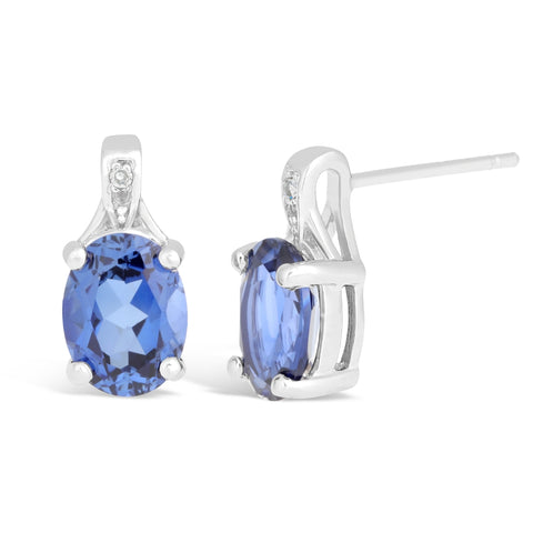 Image of Sterling Silver Gemstone Round Earrings with Diamond Accent