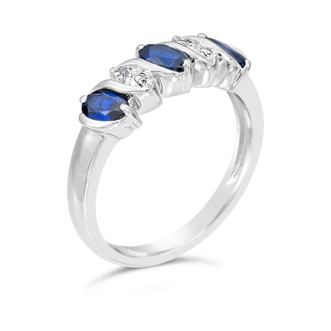 Image of Gemstone & White Topaz Ring in Sterling Silver