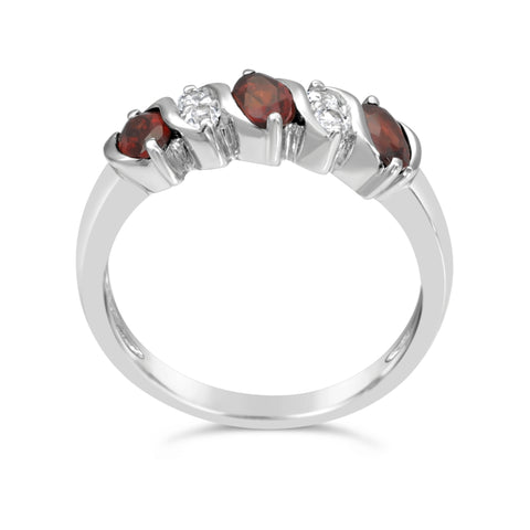 Gemstone & White Topaz Ring in Sterling Silver