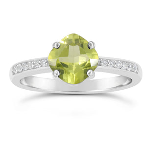 Birthstone Cushion Ring with White Topaz Accent in Silver
