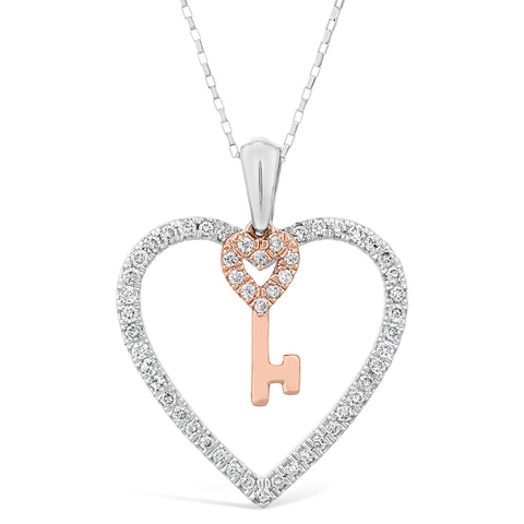 10K Rose Gold Key & White Gold Hammered Pendant with Diamond Accent