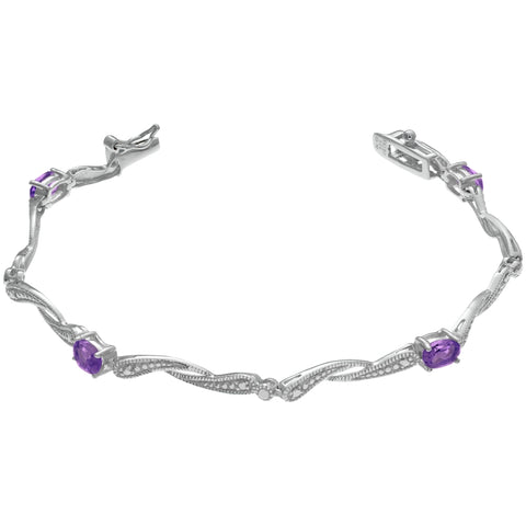 Four-Stone Oval Birthstone Bracelet in Sterling Silver