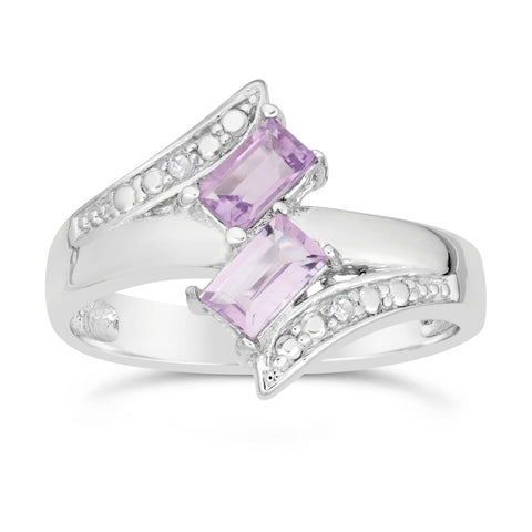 Double Gemstone and White Topaz Ring in Sterling Silver