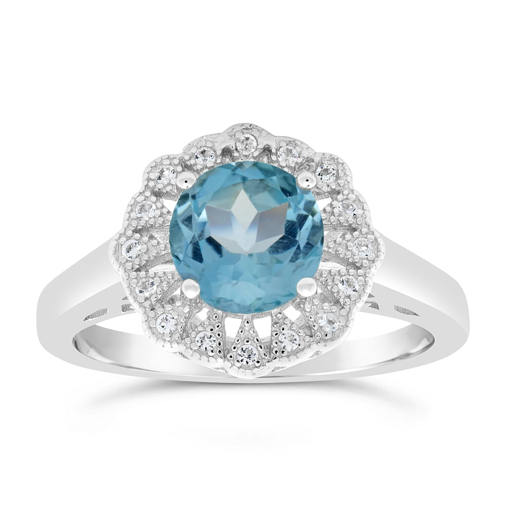 Sterling Silver with Round Gemstone& White Topaz Ring